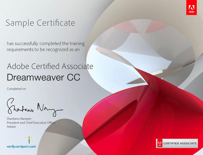 Certificato Adobe per Dreamweaver CC