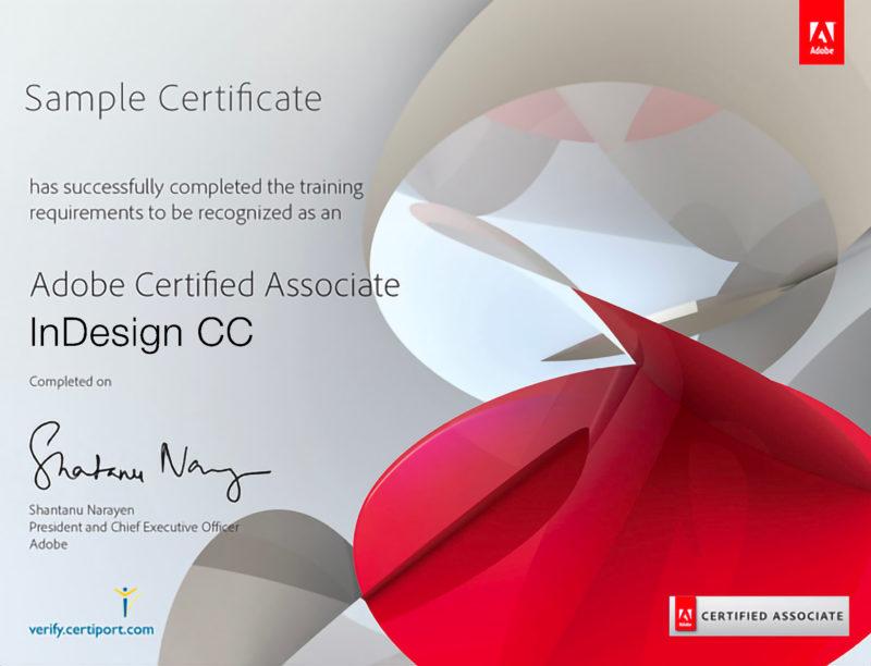 Certificato Adobe per InDesign CC