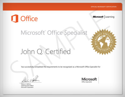 Certificato Microsoft Office Specialist