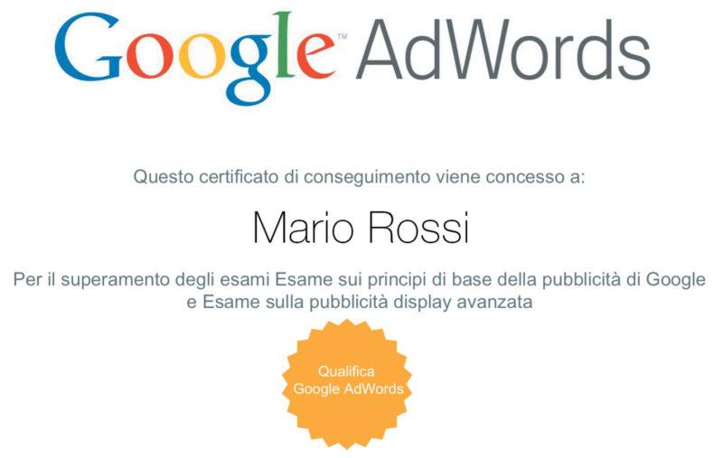 Google AdWords certificazione di Click Academy