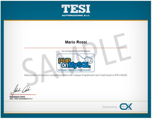 esempio certificazione PHP on MySQL