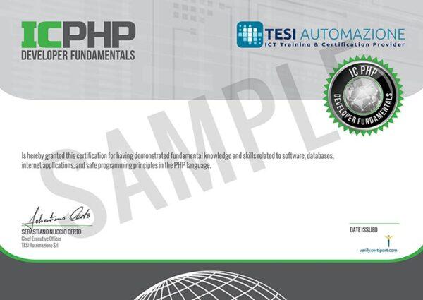 esempio certificazione IC PHP developer fundamentals - certiport